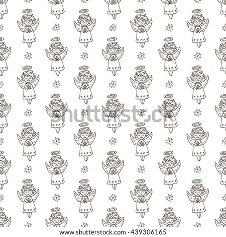 Hand Drawn Doodle Angels and Stars Seamless pattern. Cute Christmas Black and white background vector illustration - stock vector