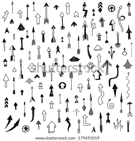 hand-drawn doodle arrow's collection - stock vector