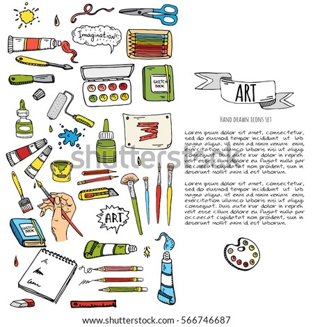 Hand drawn doodle art craft tools stock vector 566746687 for Arts and crafts tools