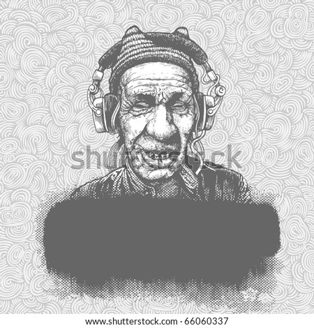 Hand-drawn doodle background with elderly man in headphones. vector illustration - stock vector