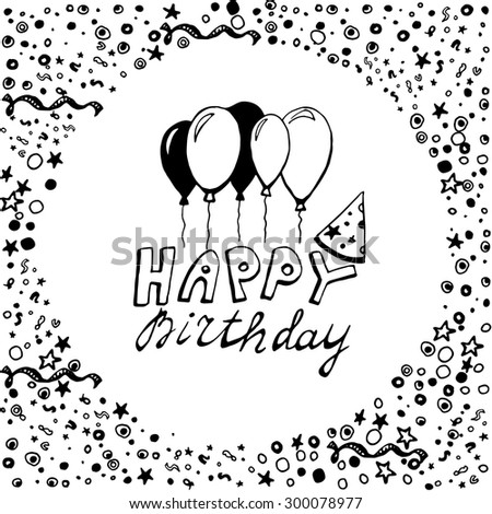 Hand drawn doodle birthday card balloons stock vector 300078977 hand drawn doodle birthday card with balloons black on white background bookmarktalkfo Images
