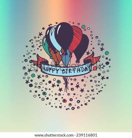 Hand Drawn Doodle Birthday Card Balloons Vector 300078974 – Doodle Birthday Card