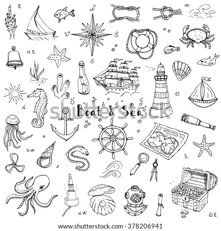 Hand drawn doodle Boat and Sea set Vector illustration boat icons sea life concept elements Ship symbols collection Marine life Nautical design Underwater life Sea animals Sea map Spyglass Magnifier - stock vector