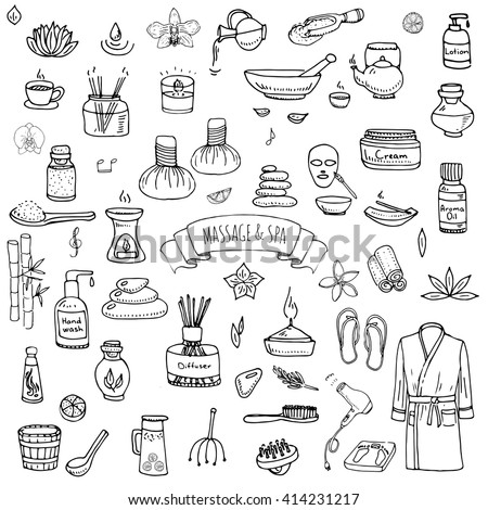 Hand Drawn Doodle Body Massage And Spa Icon Set Vector Illustration Relaxing Symbols Collection Cartoon