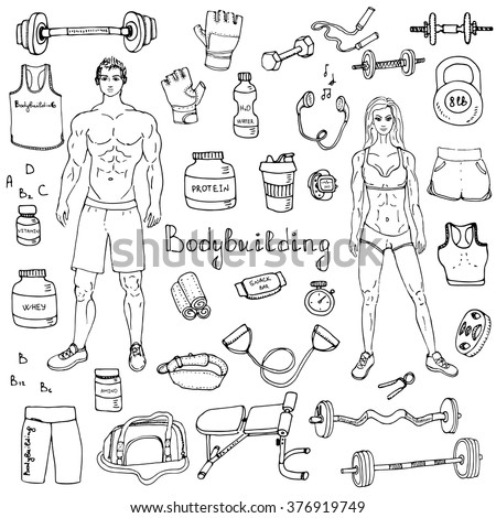 Hand drawn doodle Bodybuilding set Vector illustration sport icons Body building elements Fitness symbols collection Sport equipment Fitness and gym design Strong man and fit woman Weight lifting gear - stock vector