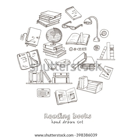 Hand drawn doodle Books Reading set. Sketches. Vector illustration of for design and packages product. Vector Illustration. - stock vector