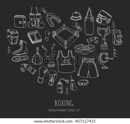 Hand drawn doodle boxing icons set Vector illustration Sketchy sport related icons boxing elements, boxing uniform, gloves, shoes, helmet, boxing ring, belt, trophy Carton boxing equipment - stock vector