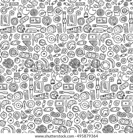 Hand Drawn Doodle Breakfast Seamless Pattern Stock Vector
