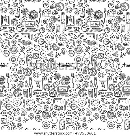Hand drawn doodle Breakfast Seamless Pattern. Flat lay composition with lettering. Top view of food, drink and kitchen equipment. Coloring page.