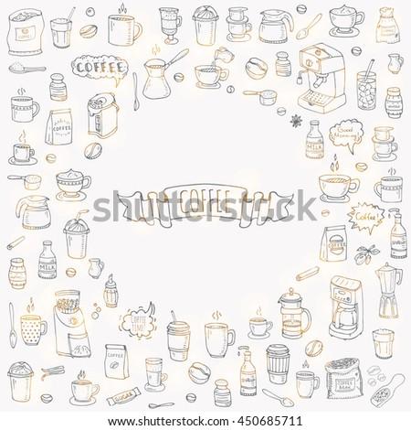 Hand drawn doodle Coffee time icon set. Vector illustration. Carton beverages. Sketch drink elements: mug, cup, espresso, americano, irish, decaf, mocha, coffee making machine - stock vector
