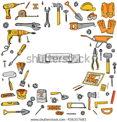 Hand drawn doodle Construction tools set. Vector illustration building icons House repair concept collection Modern sketch style labels of home remodel gear elements and symbols Saw Hammer Screwdriver - stock vector