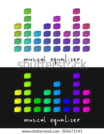 Hand drawn doodle cube musical equalizer collection - stock vector