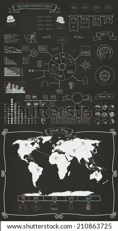 Hand Drawn Doodle Design Elements and Icons of Vintage Infographics with World Map. Chalk Drawing. Vector Illustration - stock vector