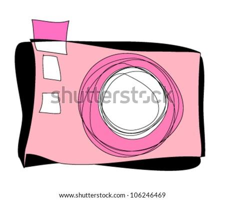 hand drawn doodle digital camera illustration graphic design - stock vector