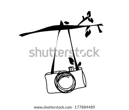 hand drawn doodle digital camera illustration hanging on the tree branch - stock vector