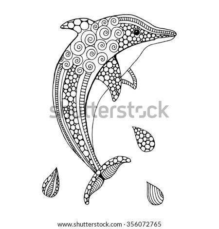 Hand drawn doodle dolphin - stock vector