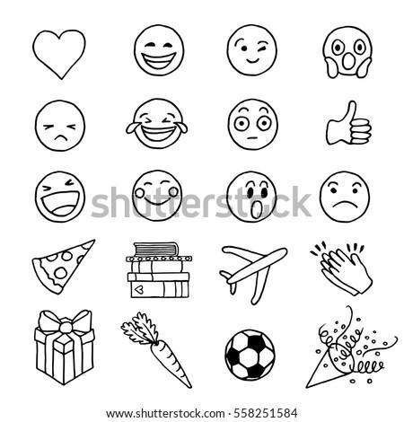 Hand Drawn Doodle Emoji Stock Vector 558251584 - Shutterstock