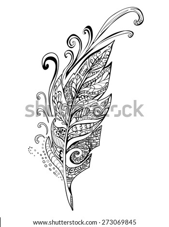 Hand drawn Doodle feather birds, vector illustration - stock vector