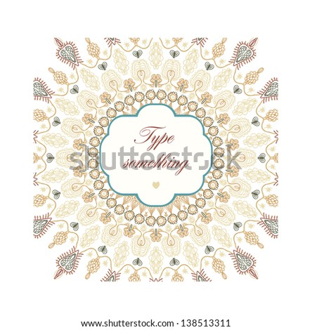 Hand drawn doodle floral ornamental background. - stock vector