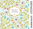 Hand drawn doodle floral ornamental background in bright colors. - stock