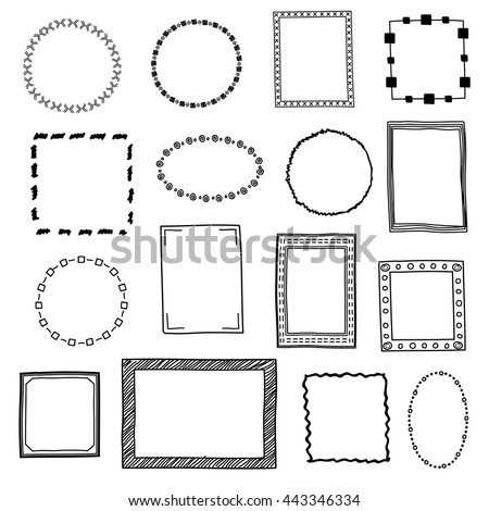 Hand Drawn Doodle Frames Borders Vector Set Frame Sketch For Decoration Drawing