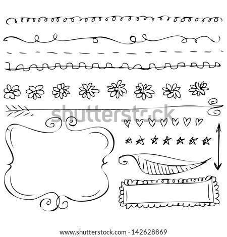 Hand-drawn doodle frames collections - stock vector