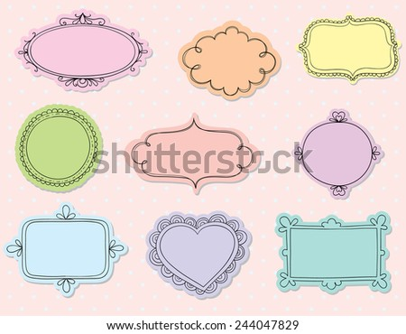 Hand drawn doodle frames with a solid background in pastel colours. - stock vector