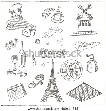 Hand drawn doodle France symbols set. Sketchy Icons set. Travel  Collection. Isolated vector illustration.