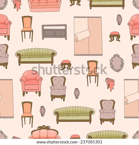 Hand Drawn Doodle Furniture Seamless Pattern - stock vector