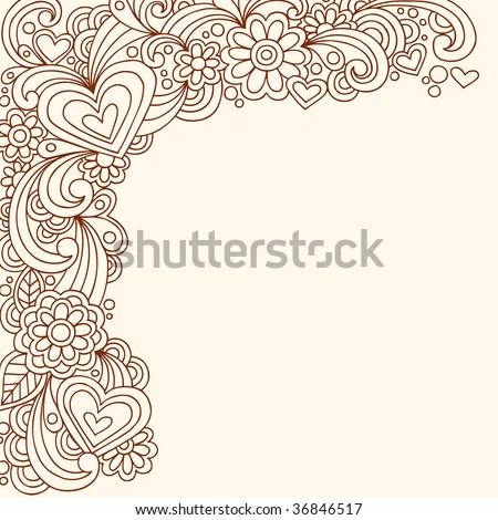 Hand-Drawn Doodle Henna Heart Border Vector Illustration - stock vector