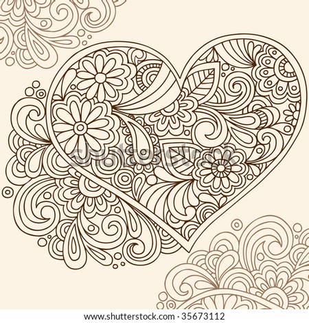 Hand-Drawn Doodle Henna Heart Vector Illustration - stock vector