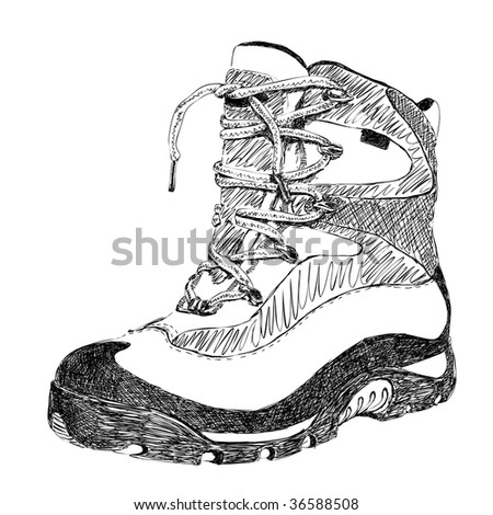 hand drawn doodle hiking boot vector - stock vector