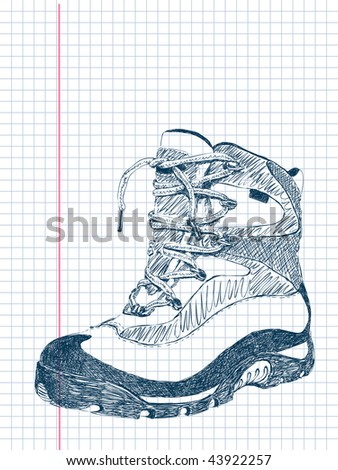 hand drawn doodle hiking boot vector. Visit my portfolio for big collection of doodles - stock vector