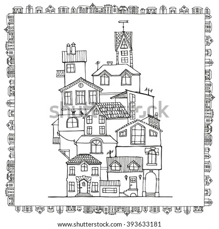 Hand drawn doodle houses in black and white.  Adult coloring page. Zentangle coloring book. Vector Illustration.