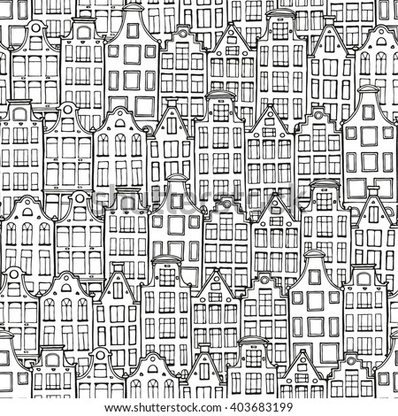 Hand drawn doodle houses pattern. Seamless background in black and white. Netherlandish house. Zentangle illustration.  Adult coloring page. - stock vector