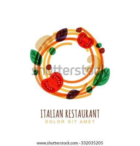 Hand drawn doodle illustration of italian spaghetti with tomato, mushrooms and basil. Abstract vector logo design template. Trendy concept for pasta label, restaurant menu, cafe, fast food, pizzeria.  - stock vector