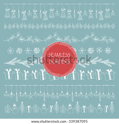 Hand drawn doodle illustration. Vector white line art borders. Stripe ornaments and Illustrator pattern brushes included. Snowflakes, fir-tree branch, snowman, christmas balls, cones, present box. - stock vector