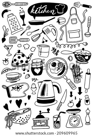 hand-drawn doodle kitchen utensils - stock vector