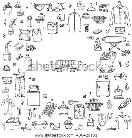Hand Drawn Doodle Laundry Set Vector Stock Vector Hd Royalty Free