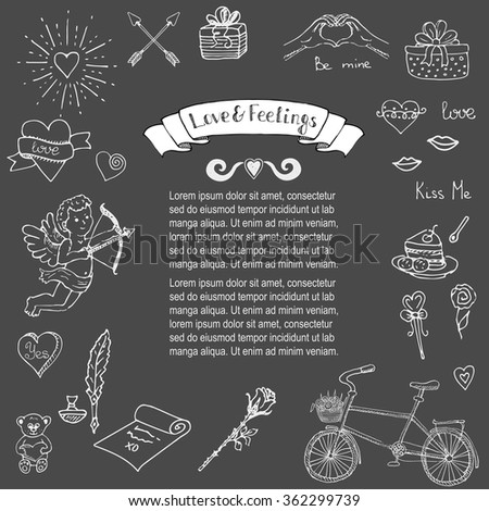 Hand drawn doodle Love and Feelings collection Vector illustration Sketchy Love icons Big set of icons for Valentine's day, Mothers day, wedding, love and romantic events Hearts hands Cupid Love arrow - stock vector