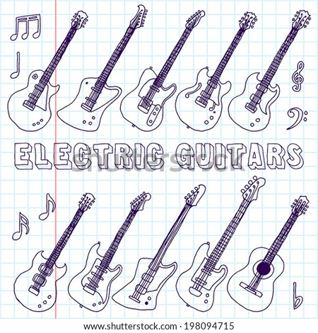 Hand drawn doodle musical instruments. Electric guitars. Vector illustration. School notebook.   - stock vector