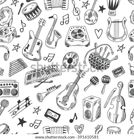 Hand drawn doodle musical instruments seamless pattern. Synthesizer, bass guitar, domra, gramophone, bagpipe, microphone, vinyl, maracas, cassette, piano and other. - stock vector