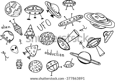 Hand drawn doodle of UFO and alien set with lettering. Coloring book vector