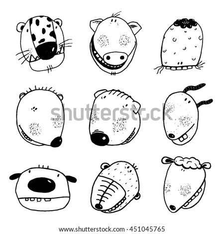 Hand drawn Doodle Outline Cartoon Animal Heads with Teeth Fun Collection. Linear style animals icon set. Cartoon style, different characters. Vector monochrome black and white outline illustration.