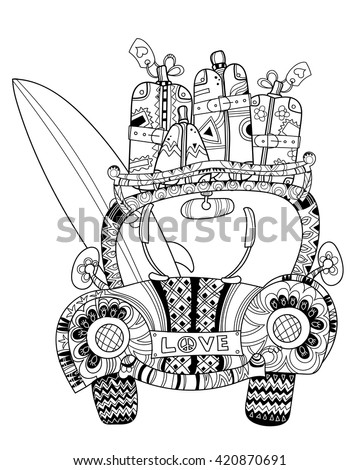 Hand drawn doodle outline holiday car travel decorated with ornaments.Vector illustration.Floral ornament.Sketch for tattoo or coloring pages.Boho style. - stock vector