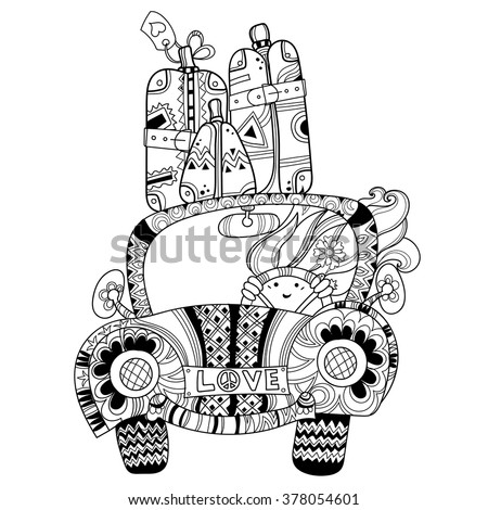 Hand drawn doodle outline holiday car travel decorated with ornaments.Vector zentangle illustration.Floral ornament.Sketch for tattoo or coloring pages.Boho style. - stock vector