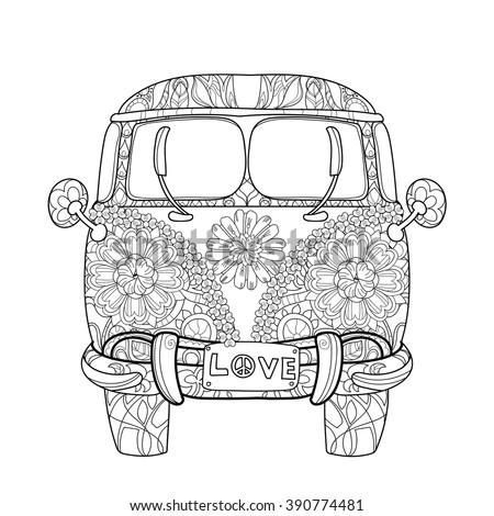 Hand drawn doodle outline retro bus travel decorated with ornaments front view.Vector zentangle illustration.Floral ornament.Sketch for tattoo or coloring pages.Boho style. - stock vector