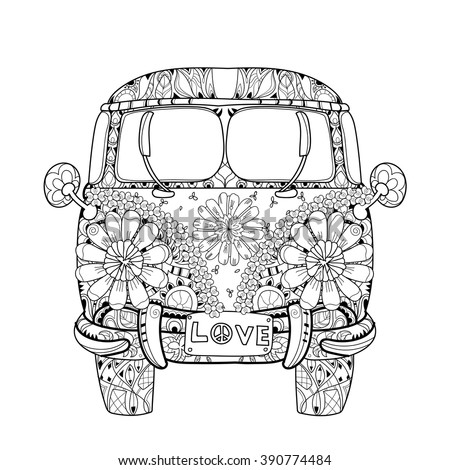 hand drawn doodle outline retro bus stock vector 390774484