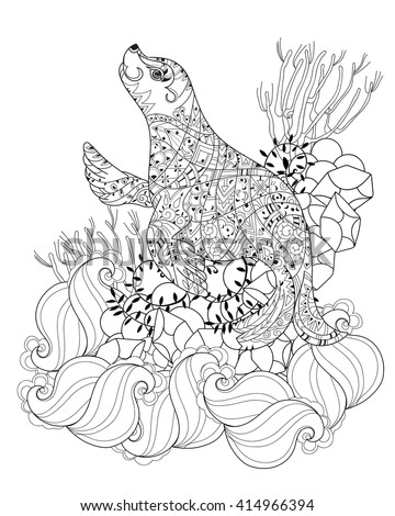 Hand Drawn Doodle Outline Sea Lion Stock Vector 414966394