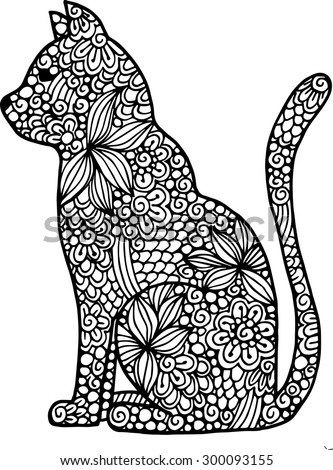 Hand drawn doodle outline vector cat illustration decorated with abstract ornamental drawings - stock vector